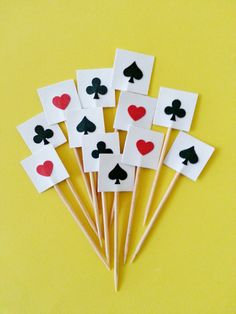 Used for Hors d'oeuvre 12 Casino Poker Cards Party Picks / Cupcake Toppers by naissance