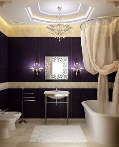 House Decorating Ideas Modern Bathroom Design with Purple Wall: House Decorating Ideas Modern Bathroom Design with Purple Wall House Design, House, Bathroom Interior Design, Dark Interior Design, Interior Design Inspiration, Modern Bathroom Design, Romantic Bathrooms, Purple Bathrooms, Dark Interiors