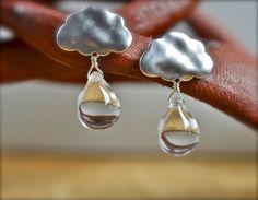 Raindrop Cloud- Matte Silver Cloud with Clear Teardrop Czech Glass Dangle Earrings