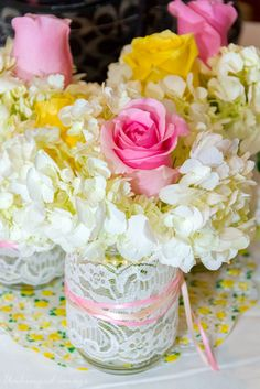 Check out these stunning flowers at a Sweet Ballerina 1st Birthday Party!  See more party ideas at CatchMyParty.com!  #partyideas #ballerina
