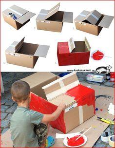 For kids cardboard box car cardboard box crafts for toddlers home improve. Cardboard Car, Cardboard Box Crafts, Cardboard Box Ideas For Kids, Diy For Kids, Crafts For Kids, Diy Crafts, Carton Diy, Diy Karton