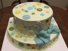 cute as a button baby shower cake boy or girl