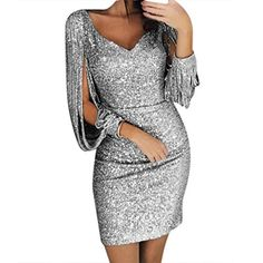 d006368780c Gold Hands Tassel Lantern Sleeve Dress Women Sexy V Neck Bodycon Dresses  Summer Fashion Elegant Party Dress Sequined Vestidos