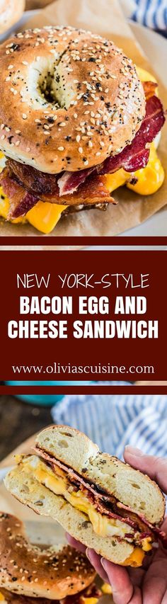 New York-Style Bacon Egg and Cheese Sandwich - Brunch Recipes Breakfast Dishes, Best Breakfast, Breakfast Recipes, Breakfast Bagel, Breakfast Sandwiches, Breakfast Ideas, Deli Sandwiches, School Breakfast, Vegan Sandwiches