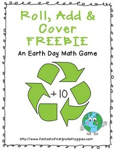 Earth Day Roll, Add and Cover Math Freebie