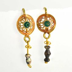 A Pair of Roman Gold & Glass Drop Earrings, ca. 1st century BC/AD