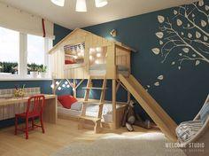 Kind im Haus? Das sind die wichtigsten Einrichtungstipps! Hier ein schönes Stockbett mit Rutsche für besonders viel Spaß und Platz für Besuch :)