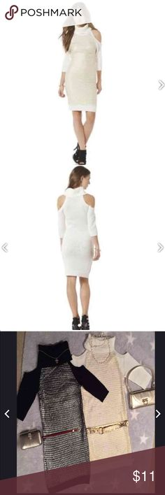 Cold shoulder Sweater Dress by Bongo Cream/gold loose knit sweater dress. Please visit and follow my closet for more great deals! Tag: Wet Seal, Target, Mossimo, BONGO Dresses Long Sleeve