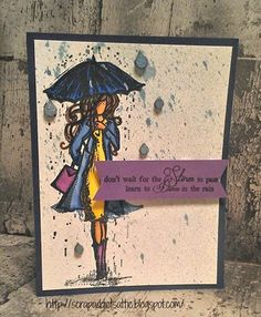 Harmony Girls from Unity Stamp Company along with chipboard raindrops from UmWow Studio