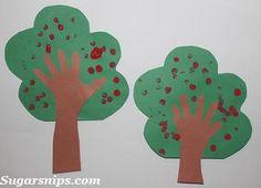 Fingerprint Apple Tree Fall craft for kids.