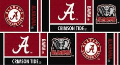 Collegiate Cotton Broadcloth University of Alabama Squares Red/Black from @fabricdotcom  The University of Alabama is home to the legendary Crimson Tide football team. This team has dominated the SEC and NCAA football for years. 'Bear' Bryant is still remembered as a favorite coach. The squares feature the Crimson Tide elephant logo.
