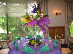 Custom Mardi Gras themed centerpieces for a very special sweet 16 in Andover at the Andover Country C. Mardi Gras Decorations, Table Decorations, Mardi Gras Centerpieces, Table Centerpieces, Wedding Centerpieces, Mardi Gras Party Theme, Festa Party, Rio Party, Party Time