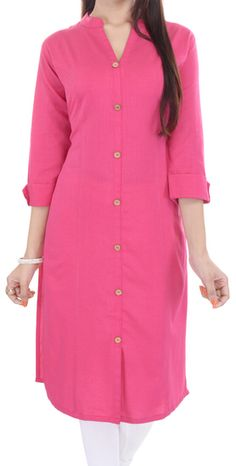 Shirt Kurti Churidar Designs, Kurta Designs Women, Dress Neck Designs, Blouse Designs, Shirt Style Kurti, Stylish Dresses, Fashion Dresses, Kurti Styles, Kurta Neck Design
