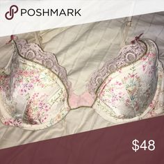 PERFECT CONDITION vintage VS angels bra lightly lined victoria's secret angels lined demi floral satin lace bra Victoria's Secret Intimates & Sleepwear Bras