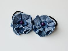 Upcycled  Jeans Blue  flower elastic hair ties  Set by Beautyland, $6.00