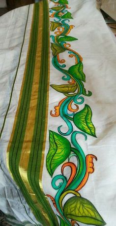 Saree Painting Designs, Fabric Paint Designs, Ganesha Painting, Buddha Painting, Hand Painted Dress, Painted Clothes, Acrylic Paint On Fabric, Kerala Mural Painting, Basic Painting