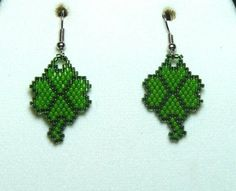 Items similar to Shamrock Beaded Earrings on Etsy Seed Bead Earrings, Beaded Earrings, Seed Beads, Crochet Earrings, Seed Bead Projects, Beading Projects, Seed Bead Patterns, Beading Patterns Free, St Patrick Day Activities