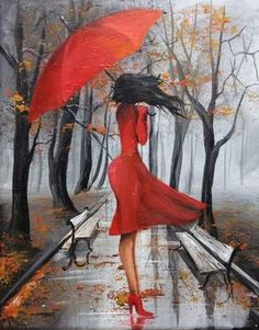 Painting by Eka Peradze * Umbrella Painting, Umbrella Art, Art Sketches, Art Drawings, Rain Art, Easy Paintings, Oil Paintings, Art Pictures, Painting & Drawing