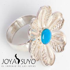 Sortija de plata 950 con piedra opalina . S/. 110  www.joyasuyo.com