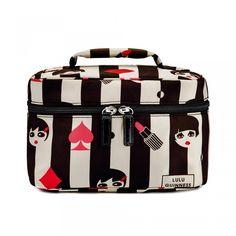 Doll Face Icon Vanity Case: This brightly coloured vanity case is a super way to store all your beauty essentials. This spacious design will make the perfect addition to your holiday suitcase. - Visit Lulu Guinness at http://www.luluguinness.com/