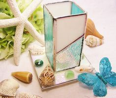 Sea Green Stained Glass Lantern with SeaShells by MoreThanColors, $40.00