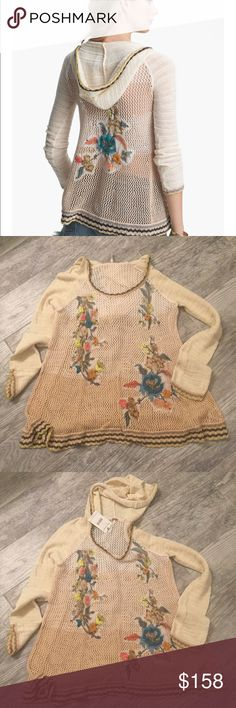 """Free people """"menagerie""""Sweater. NEW!! And Rare,Not available any longer in stores.NWT never worn.Floral needle work over a crochet hooded sweater.length at front is approx 25ins length at back 27ins.Cotton/rayon hand wash.$228 Free People Sweaters"""