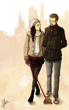 My second fav JoanLock of Joan and Sherlock walking Clyde