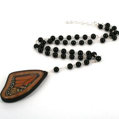 Cordelia Beaded Real Butterfly Wing Rosary Necklace