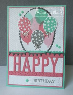 HAPPY HEART CARDS: STAMPIN' UP! SO MUCH HAPPY BIRTHDAY CARD IN FLIRTY FLAMINGO & COASTAL CABANA
