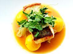 Pan Roasted Walleye, Saffron Potatoes, Napa Cabbage, Lemon-Thyme Aioli ...
