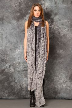 AMA X OSA - Double Grey Scarf - -PNP, fashion stores in Florence