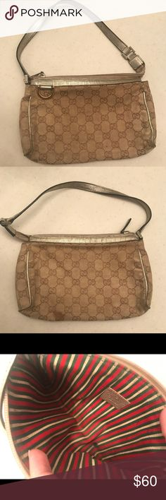 Gucci small handbag Super cute authentic Gucci handbag. Perfect and small for a night out. All it needs is a nice cleanse other than that it's in good condition. I didn't put a filter so you can see the exact color. Gucci Bags Shoulder Bags