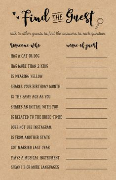 """Bridal Showers are extra fun when friends and family come together to celebrate the Bride's upcoming special day. When guests get together at the beginning of the shower, this printable game """"Find the Guest"""" is usually a great ice breaking game for everyo Nautical Bridal Showers, Blush Bridal Showers, Disney Bridal Showers, Bridal Shower Flowers, Bridal Shower Signs, Elegant Bridal Shower, Bridal Shower Decorations, Themed Bridal Showers, Wedding Showers"""