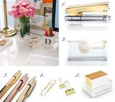 Gold desk accessories #WorkShopStyle #bling
