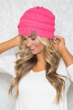 969aa66f1fd Neon Pink Knit Beanie Super Deal