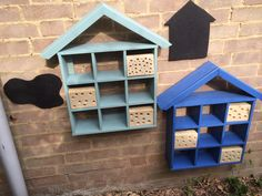 Bug hotels in the making - we used old CD holders and added deck board for the roof.
