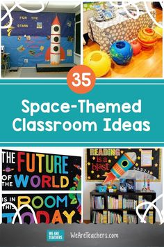 Read on for WeAreTeachers' 35 awesome space-themed classroom ideas. From rocket ships to space themed wall displays we've got it all! Space Theme Classroom, New Classroom, Classroom Setting, Classroom Displays, Classroom Decor, Outer Space Theme, We Are Teachers, Out Of This World, Teaching
