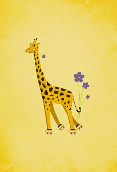 #Yellow funny roller #skating #giraffe / My Grinning Mind: #IPhone #wallpapers #iphonewallpaper #giraffes