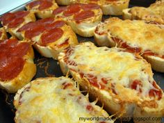 French Bread Pizza, slice bread first.... never thought of that.