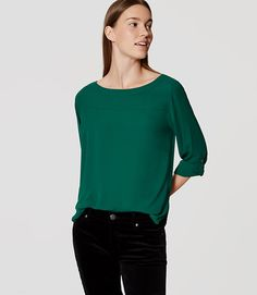 6796f019a37 Image of Tab Sleeve Pleat Back Blouse Ann Taylor