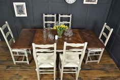 This stunning French dining set has been painted in Annie Sloan Old White and Paris Grey. With 6 charming straw seat ladderback chairs and a beautiful French oak dining table which extends to 1950mm, this is the perfect set for Christmas! Can seat up to 10 with table extended.