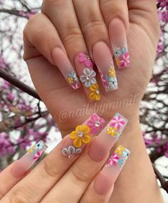 Theyre amazing.Thanks to the designers.We collected 70 trendy coffin nail art design ideas for youif you are looking for nail idea in this Spring. 3d Acrylic Nails, Summer Acrylic Nails, Gel Nails, Coffin Nails, 3d Nails Art, 3d Nail Designs, Acrylic Nail Designs, Nails Design, Nail Swag