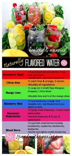 Naturally Flavored Water - 6 Flavors (Citrus Kiss, Mango Lime, Rosemary Watermelon, Mixed Berry, Strawberry Basil, Blueberry Mint)