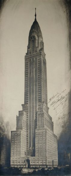 The Chrysler Building. Architectural drawings by the great Hugh Ferriss. His archives are held…