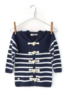 DIY Sailor Jacket - Tutorial and Pattern Crochet For Boys, Crochet Baby, Crochet Coat, Baby Coat, Coat Patterns, Baby Cardigan, Knit Jacket, Couture, Little Girl Dresses