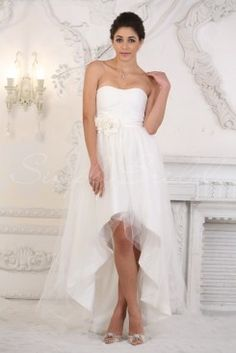Wedding Dress by SimplyBridal. This asymmetrical chiffon, tulle and satin A-line silhouette dress is fun and stylish in the front, but classic from the back. The floral embellishment around the waist compliments the pleating in the bodice. The sweetheart neckline is one of the most pop. USD $233.99
