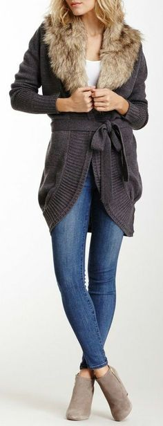 Faux Fur Neck Cardigan, and really like the short skinny jeans with suede booties ♥