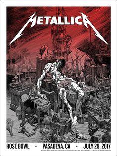 Affiche signée Bernie Wrightson du concert de Metallica du 29 Juillet 2017 à P. Rock Posters, Band Posters, Music Posters, Art Metallica, Metallica Concert, Hard Rock, Music Artwork, Metal Artwork, Woodstock