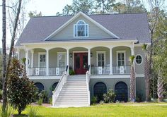 Plan Low Country House Plan with Elevator Plan Narrow Lot, Low Country, Southern, Photo Gallery House Plans & Home Designs Beach House Plans, Southern House Plans, Country House Plans, Southern Homes, Coastal Homes, Southern Cottage, Beach Homes, Southern Living, Country Living