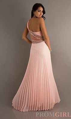 Floor Length One Shoulder Pleated Dress at PromGirl.com